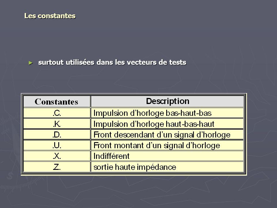 Les constantes surtout utilisées dans les vecteurs de tests