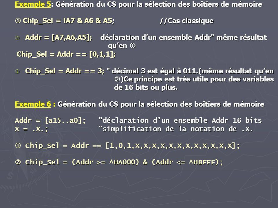 Exemple 5: G GG Génération du CS pour la sélection des boîtiers de mémoire Chip_Sel = !A7 & A6 & A5; //Cas classique Addr = [A7,A6,A5]; déclaration du