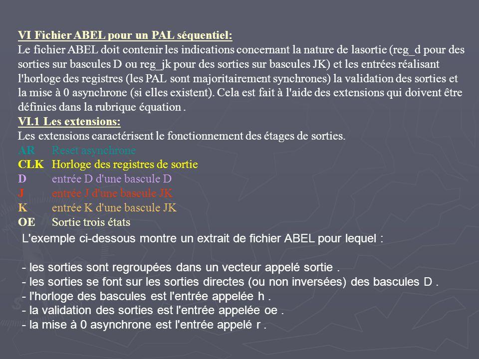 VI Fichier ABEL pour un PAL séquentiel: Le fichier ABEL doit contenir les indications concernant la nature de lasortie (reg_d pour des sorties sur bas