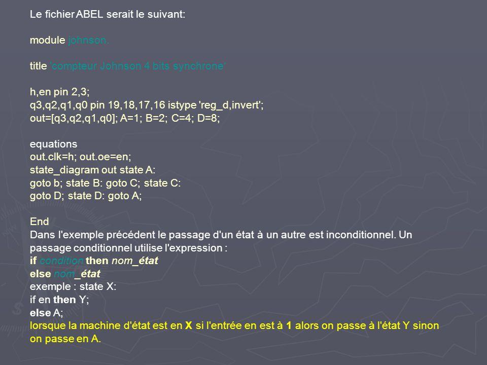 Le fichier ABEL serait le suivant: module johnson. title 'compteur Johnson 4 bits synchrone h,en pin 2,3; q3,q2,q1,q0 pin 19,18,17,16 istype 'reg_d,in