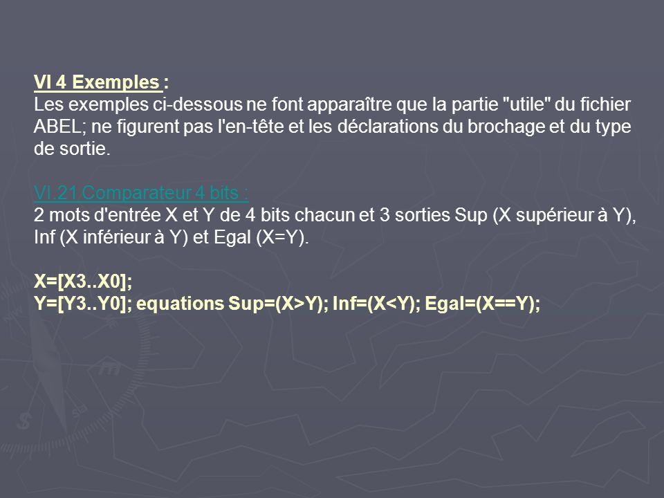 VI 4 Exemples : Les exemples ci-dessous ne font apparaître que la partie