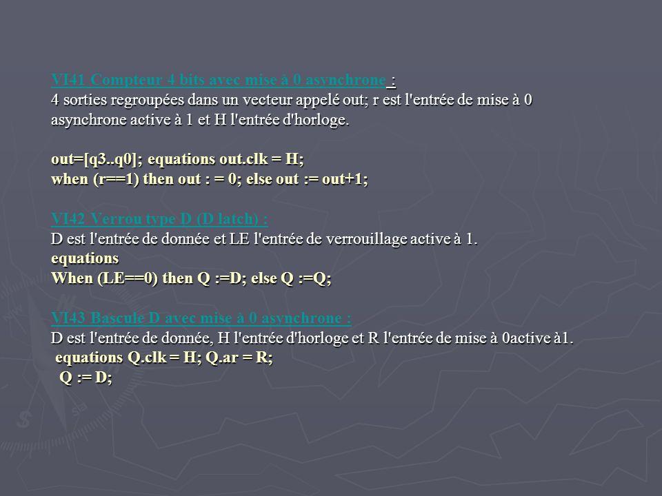 VI41 Compteur 4 bits avec mise à 0 asynchrone : 4 sorties regroupées dans un vecteur appelé out; r est l'entrée de mise à 0 asynchrone active à 1 et H