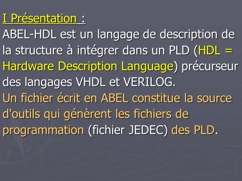 II Organisation d un fichier ABEL : L exemple ci-dessous montre l organisation d un fichier ABEL: indique sous quel nom seront créés les fichiers programmation du PAL module pap 1