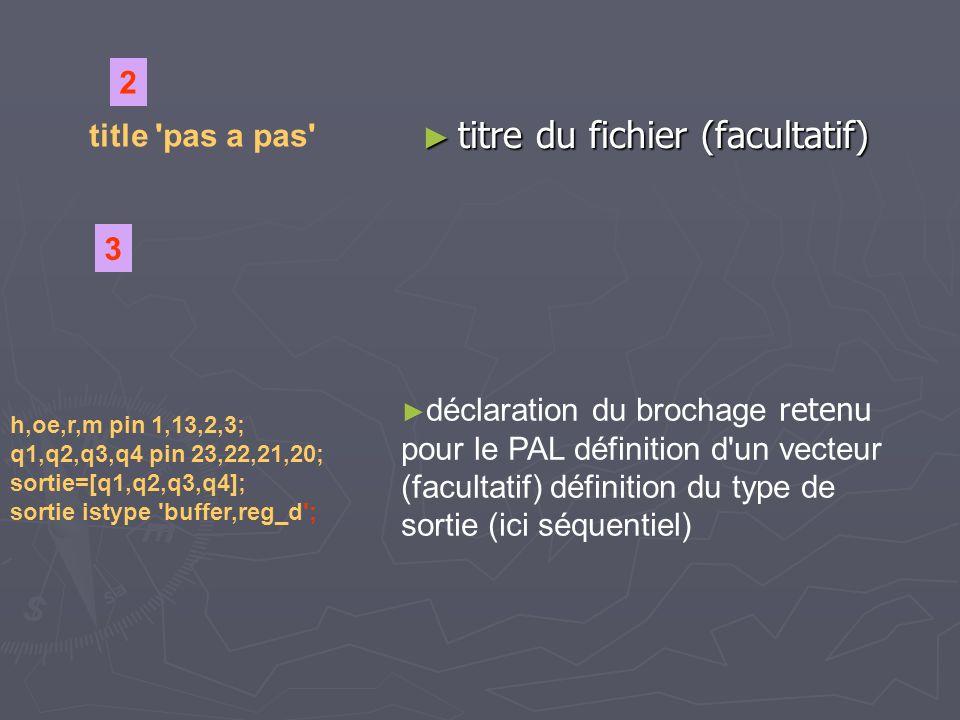 equations sortie.clk = h; sortie.clk = h; sortie.oe = oe; sortie.oe = oe; sortie.ar = r; sortie.ar = r; 4 définition du fonctionnement des registres de sortie q1.d = !q2 & !q4 & !m # q3 # !q4 & m; q3.d = q & !q4 # !q1 & q3 & !m # q2 & m; q2.d = q4 & !q1 # q2 & !q3 & !m # q4 & m; q4.d = q1 & !q3 # !q3 & !q2 & !m #q1 & m 5 définitions des équations