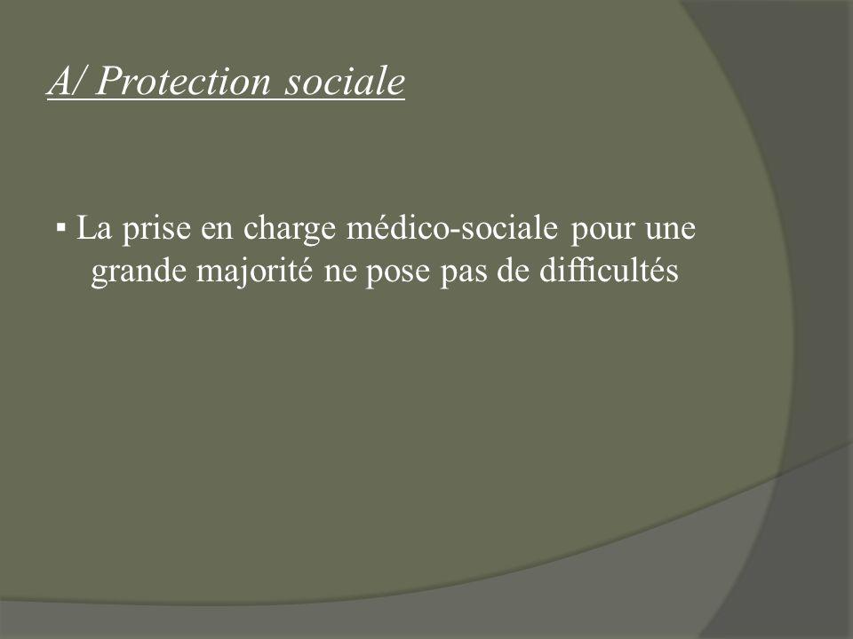 A/ Protection sociale La prise en charge médico-sociale pour une grande majorité ne pose pas de difficultés