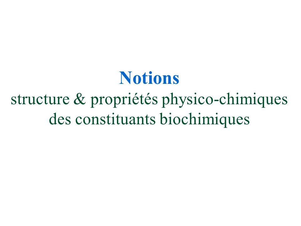Notions structure & propriétés physico-chimiques des constituants biochimiques