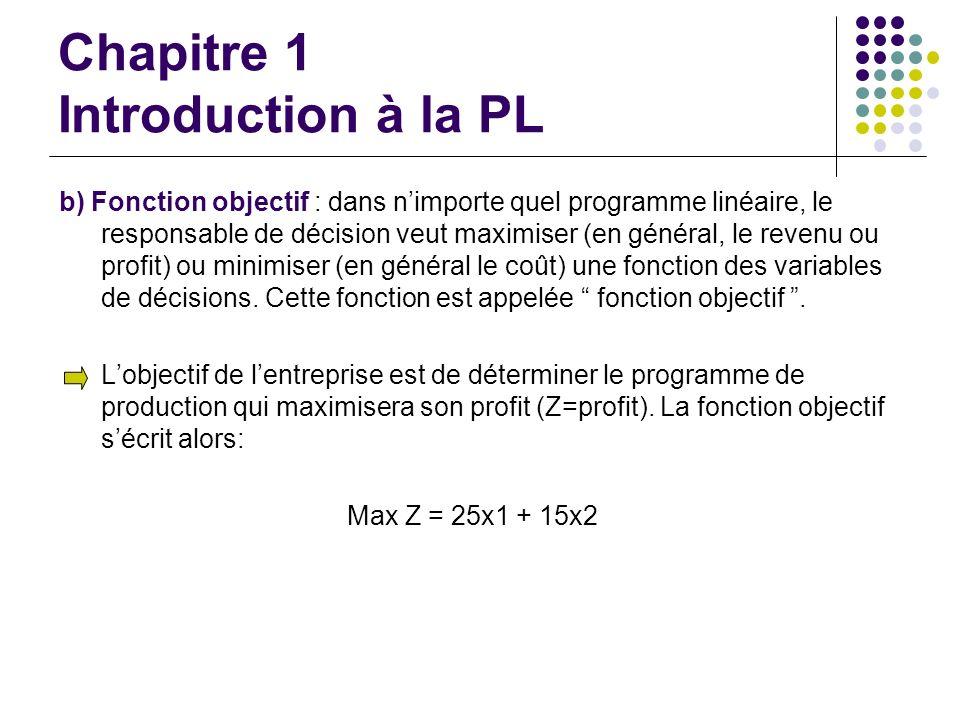 Chapitre 1 Introduction à la PL b) Fonction objectif : dans nimporte quel programme linéaire, le responsable de décision veut maximiser (en général, l