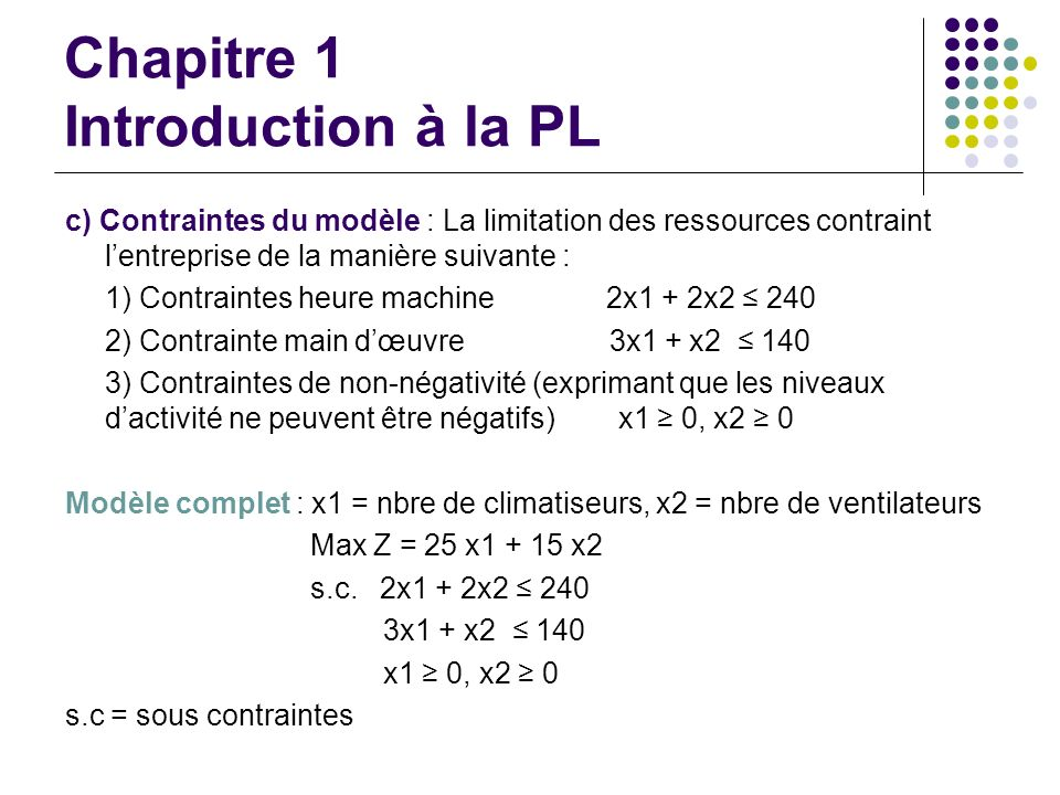 Chapitre 1 Introduction à la PL c) Contraintes du modèle : La limitation des ressources contraint lentreprise de la manière suivante : 1) Contraintes