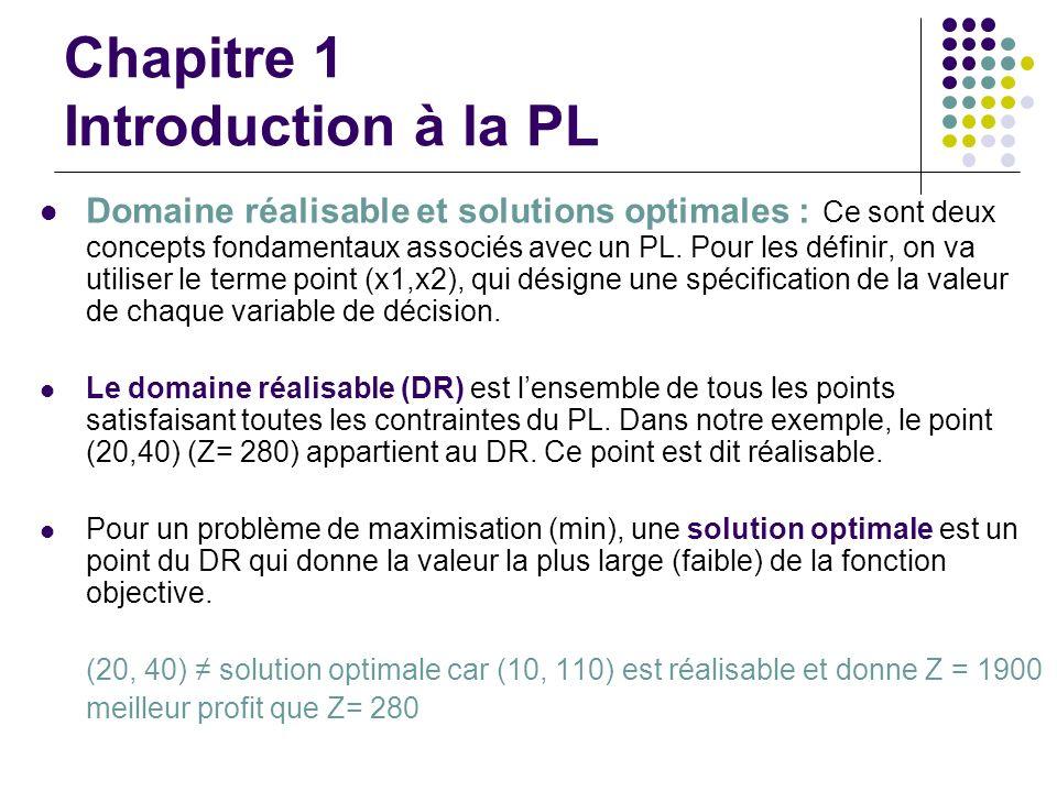 Chapitre 1 Introduction à la PL Domaine réalisable et solutions optimales : Ce sont deux concepts fondamentaux associés avec un PL. Pour les définir,