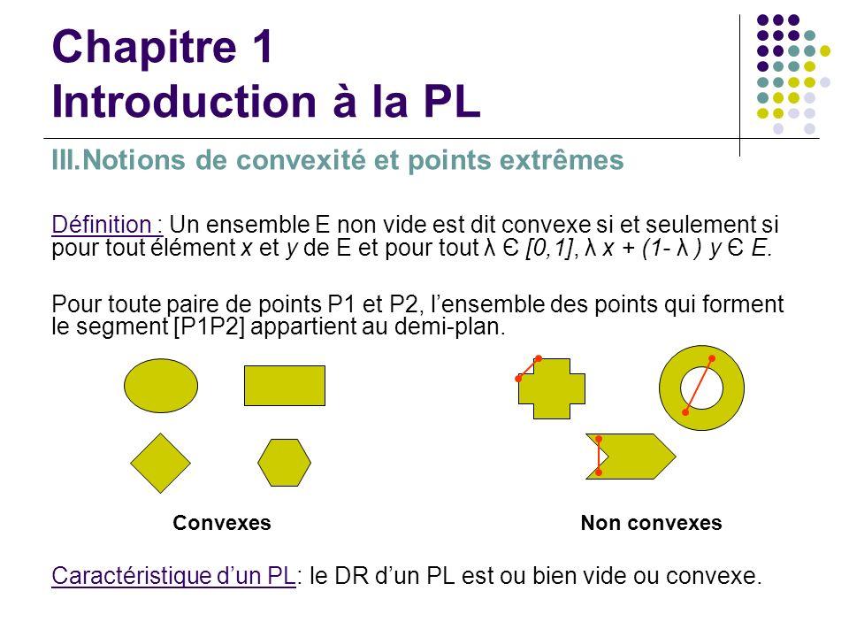 Chapitre 1 Introduction à la PL III.Notions de convexité et points extrêmes Définition : Un ensemble E non vide est dit convexe si et seulement si pou