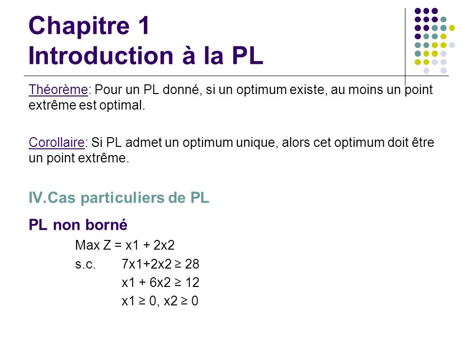 Chapitre 1 Introduction à la PL Théorème: Pour un PL donné, si un optimum existe, au moins un point extrême est optimal. Corollaire: Si PL admet un op