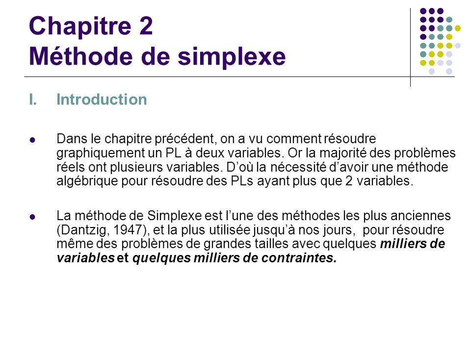Chapitre 2 Méthode de simplexe I.Introduction Dans le chapitre précédent, on a vu comment résoudre graphiquement un PL à deux variables. Or la majorit
