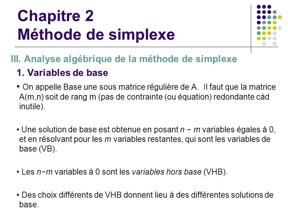 Chapitre 2 Méthode de simplexe III. Analyse algébrique de la méthode de simplexe 1. Variables de base On appelle Base une sous matrice régulière de A.