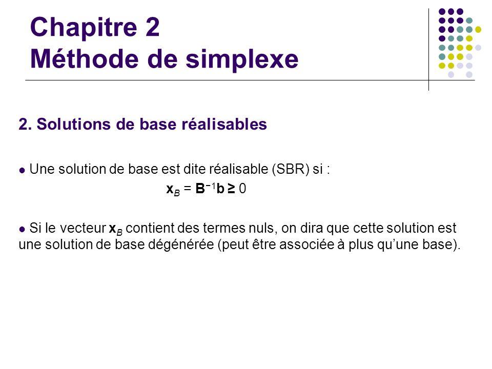 Chapitre 2 Méthode de simplexe 2. Solutions de base réalisables Une solution de base est dite réalisable (SBR) si : x B = B 1 b 0 Si le vecteur x B co