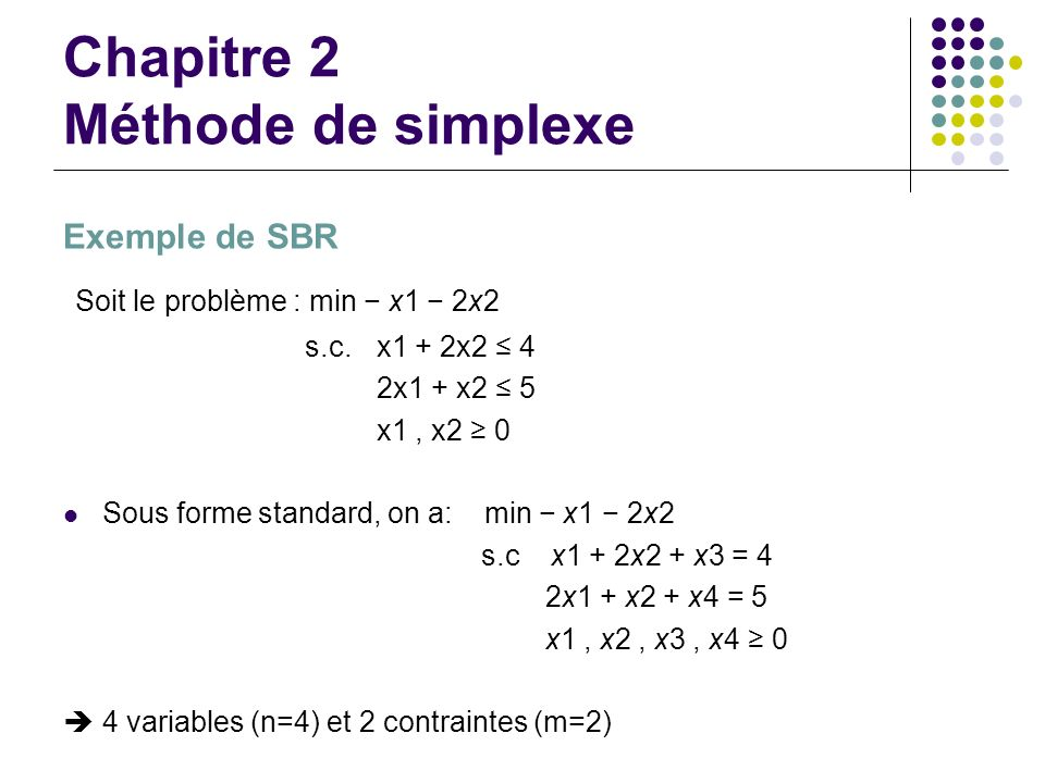 Chapitre 2 Méthode de simplexe Exemple de SBR Soit le problème : min x1 2x2 s.c. x1 + 2x2 4 2x1 + x2 5 x1, x2 0 Sous forme standard, on a: min x1 2x2