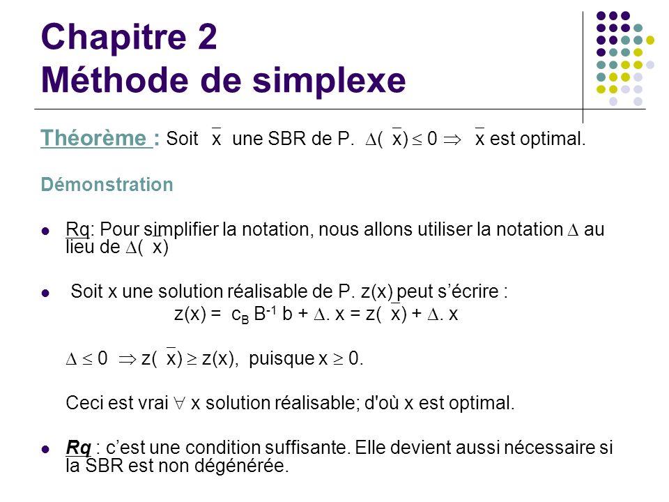 Chapitre 2 Méthode de simplexe Théorème : Soit x une SBR de P. ( x) 0 x est optimal. Démonstration Rq: Pour simplifier la notation, nous allons utilis