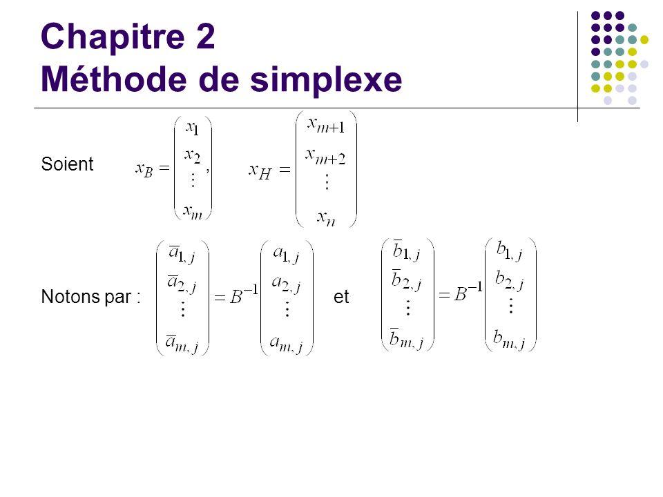 Chapitre 2 Méthode de simplexe Soient, Notons par : et