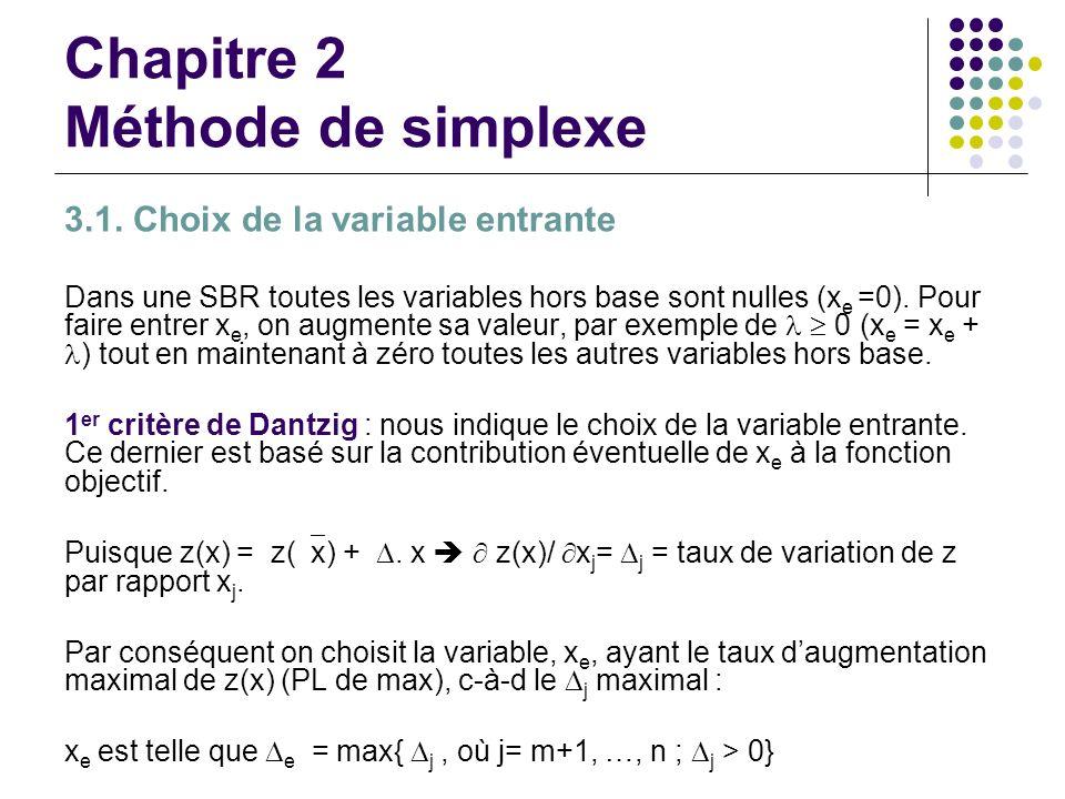 Chapitre 2 Méthode de simplexe 3.1. Choix de la variable entrante Dans une SBR toutes les variables hors base sont nulles (x e =0). Pour faire entrer
