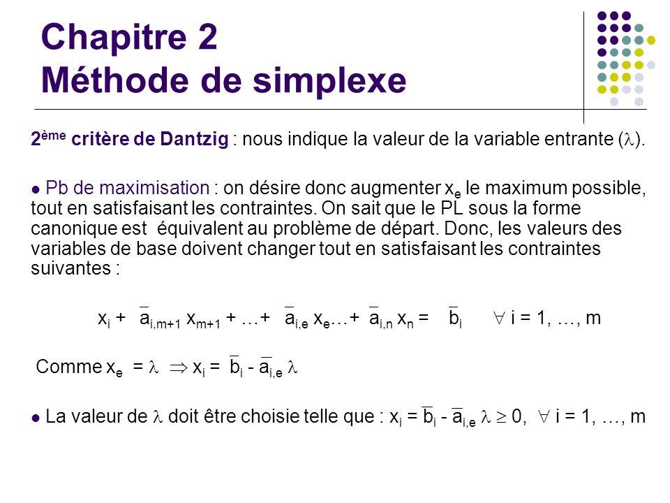 Chapitre 2 Méthode de simplexe 2 ème critère de Dantzig : nous indique la valeur de la variable entrante ( ). Pb de maximisation : on désire donc augm