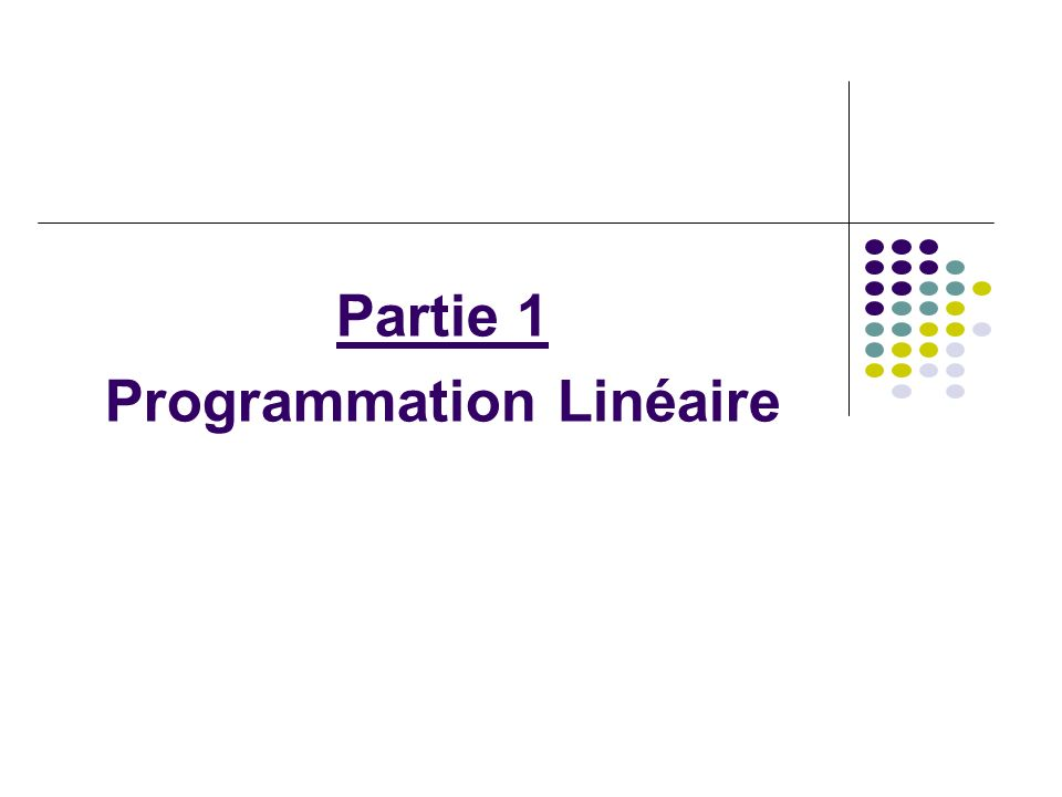 Chapitre 1 Introduction à la PL 2 ème étape : Recherche de la solution optimale (suite) Solution optimale {B} = D D D D