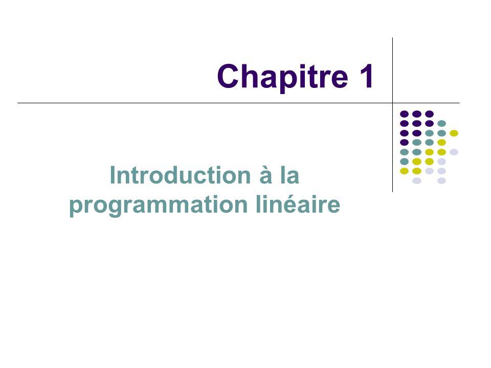 Chapitre 1 Introduction à la PL La programmation linéaire = méthode permettant doptimiser, c est-à- dire rendre le plus grand ou le plus petit possible, une fonction linéaire, cela sous certaines contraintes définies par des inégalités.