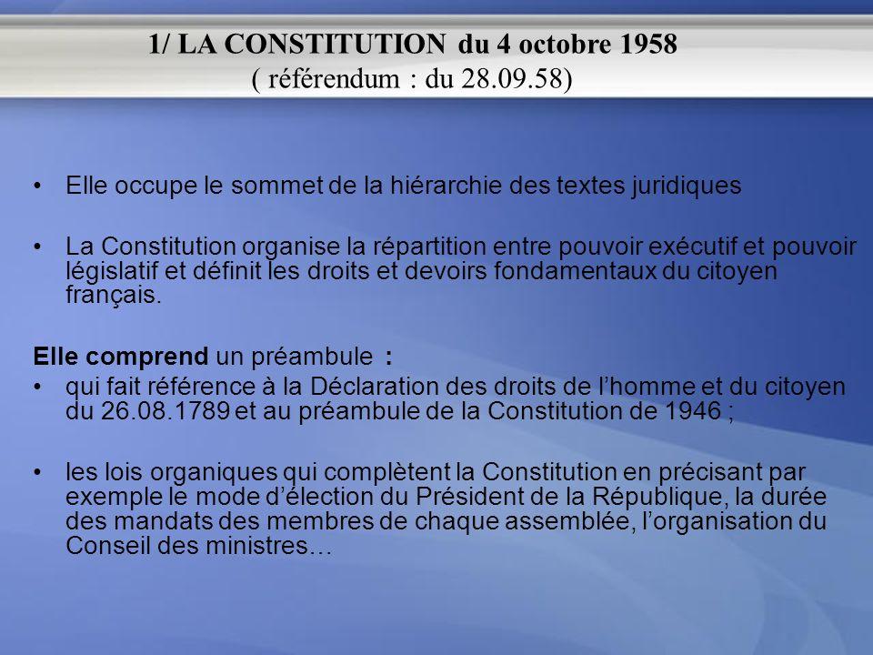 Elle occupe le sommet de la hiérarchie des textes juridiques La Constitution organise la répartition entre pouvoir exécutif et pouvoir législatif et d