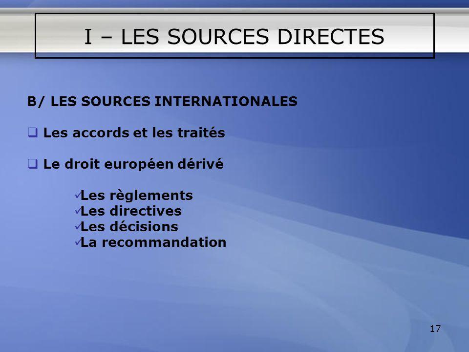 17 B/ LES SOURCES INTERNATIONALES Les accords et les traités Le droit européen dérivé Les règlements Les directives Les décisions La recommandation I