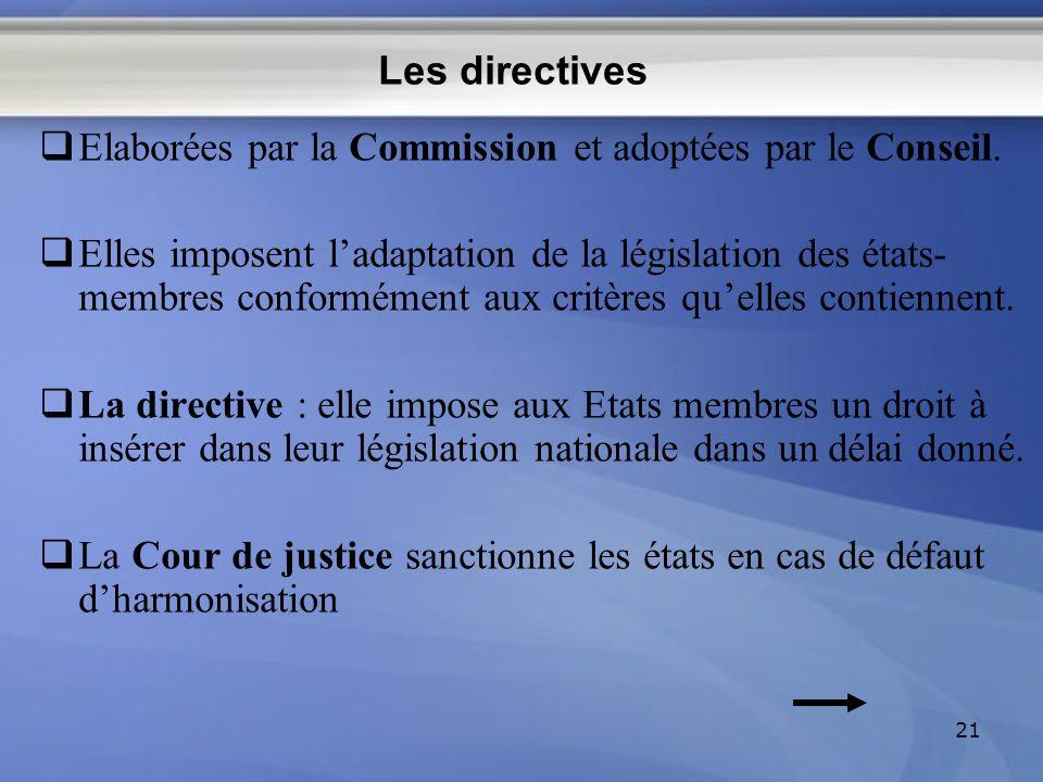 Les directives Elaborées par la Commission et adoptées par le Conseil. Elles imposent ladaptation de la législation des états- membres conformément au