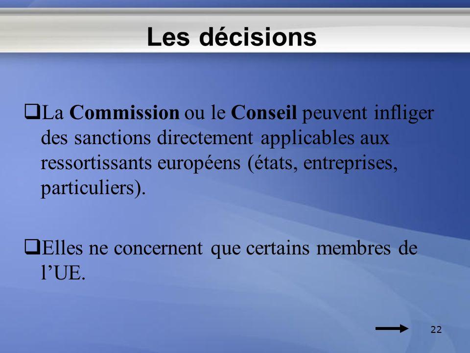 Les décisions La Commission ou le Conseil peuvent infliger des sanctions directement applicables aux ressortissants européens (états, entreprises, par