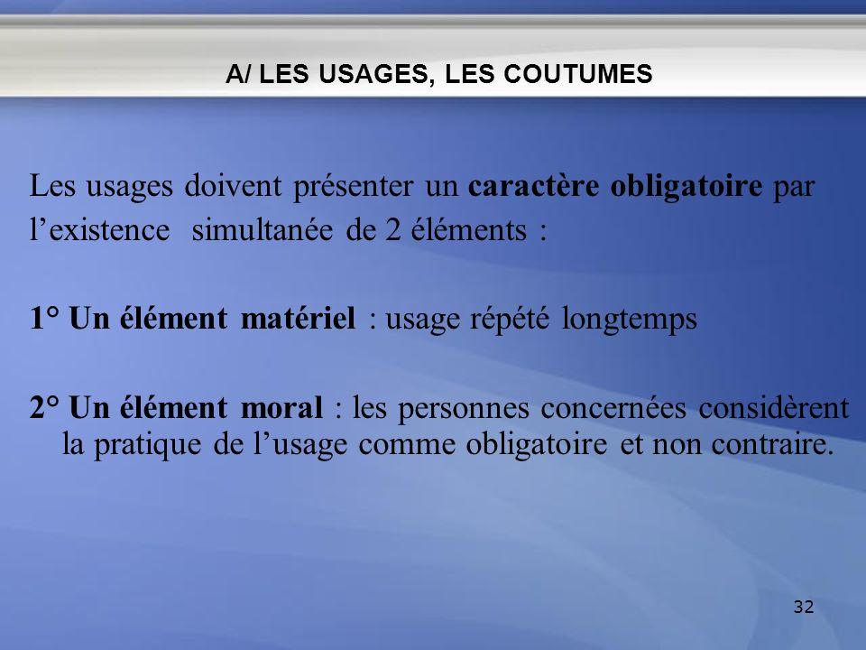 A/ LES USAGES, LES COUTUMES Les usages doivent présenter un caractère obligatoire par lexistence simultanée de 2 éléments : 1° Un élément matériel : u