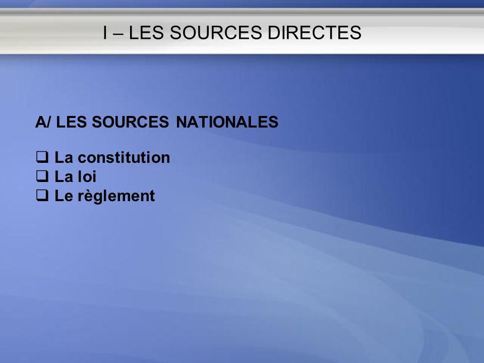I – LES SOURCES DIRECTES A/ LES SOURCES NATIONALES La constitution La loi Le règlement