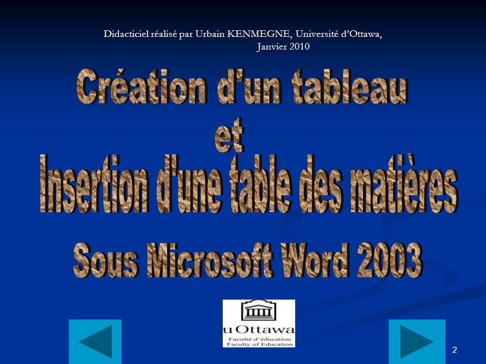 2 Didacticiel réalisé par Urbain KENMEGNE, Université dOttawa, Janvier 2010