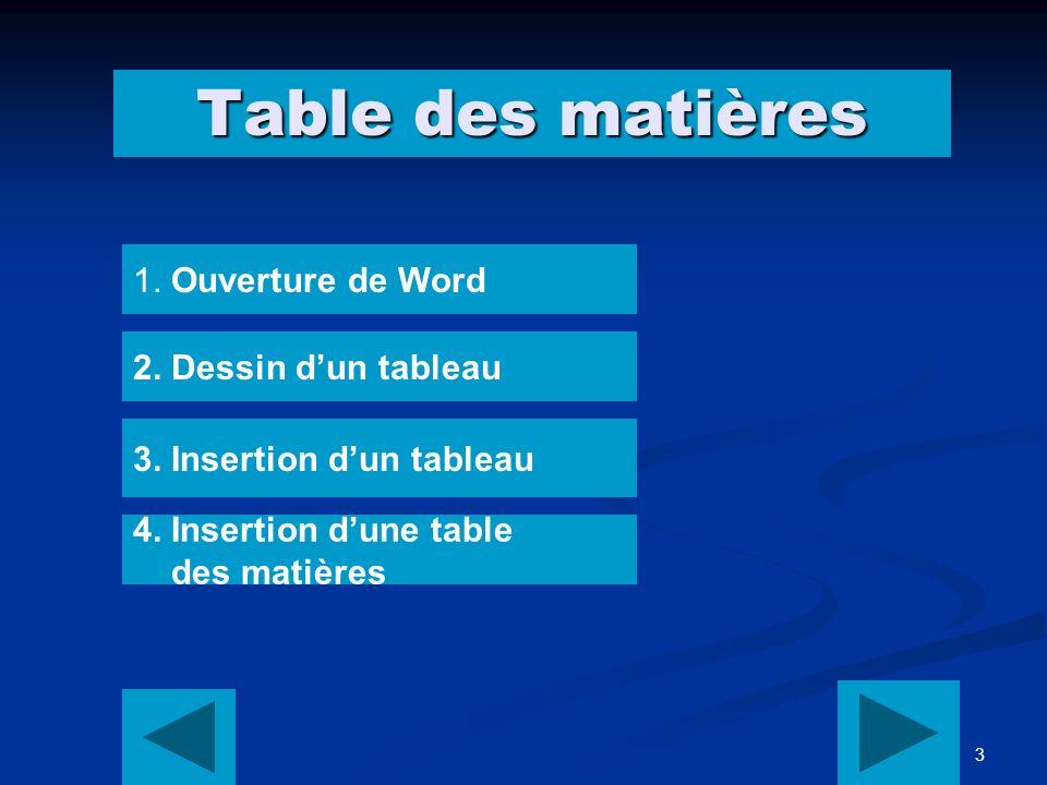 3 Table des matières 1. Ouverture de Word 2. Dessin dun tableau 3.