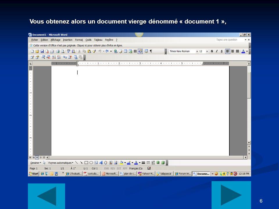 6 Vous obtenez alors un document vierge dénommé « document 1 », Vous obtenez alors un document vierge dénommé « document 1 »,