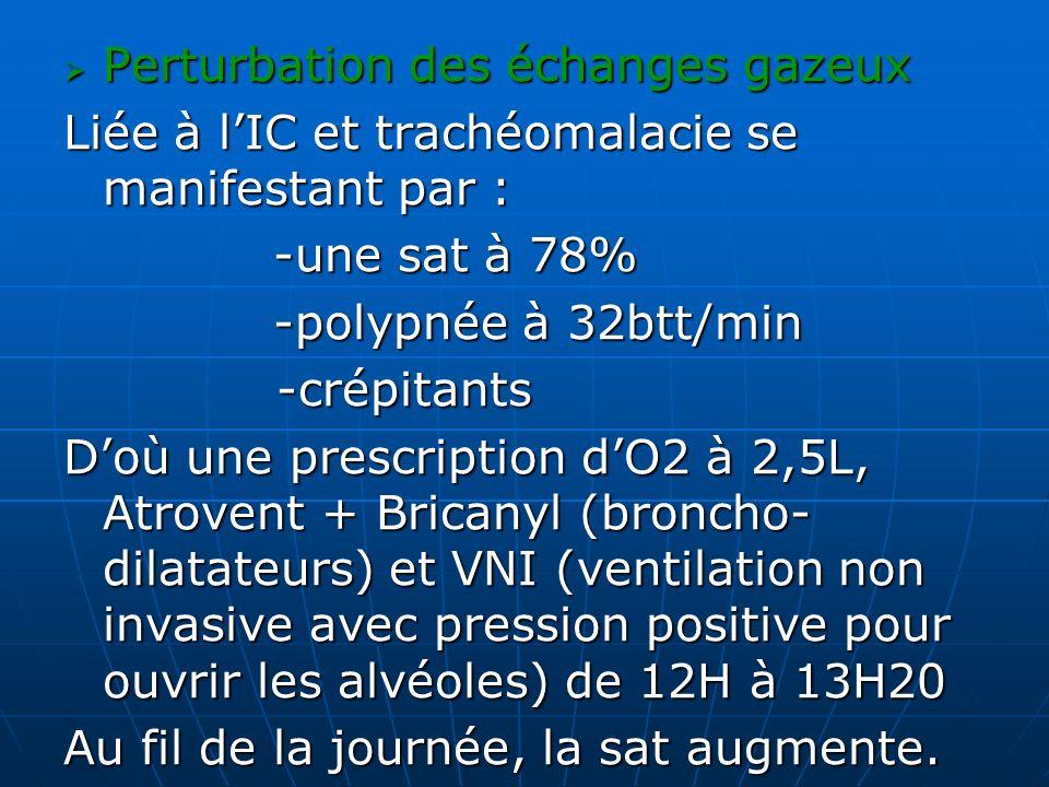 Perturbation des échanges gazeux Perturbation des échanges gazeux Liée à lIC et trachéomalacie se manifestant par : -une sat à 78% -polypnée à 32btt/m