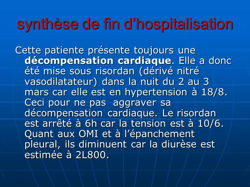 synthèse de fin dhospitalisation Cette patiente présente toujours une décompensation cardiaque. Elle a donc été mise sous risordan (dérivé nitré vasod