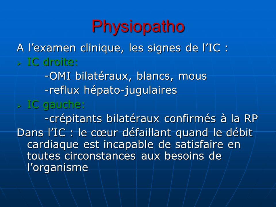 Physiopatho A lexamen clinique, les signes de lIC : IC droite: IC droite: -OMI bilatéraux, blancs, mous -reflux hépato-jugulaires IC gauche: IC gauche