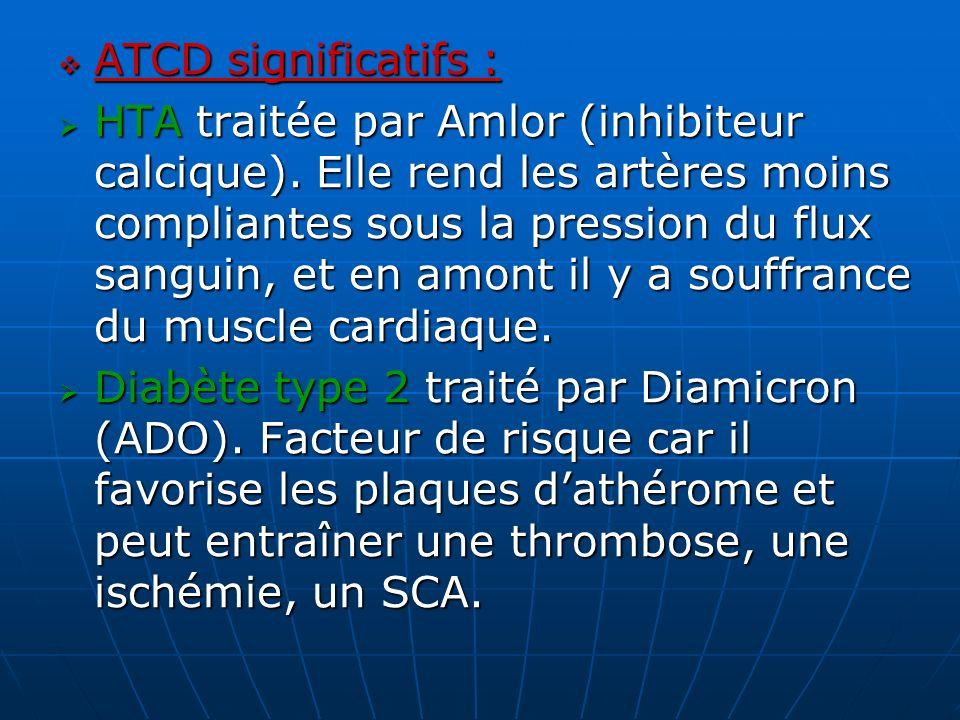 ATCD significatifs : ATCD significatifs : HTA traitée par Amlor (inhibiteur calcique). Elle rend les artères moins compliantes sous la pression du flu