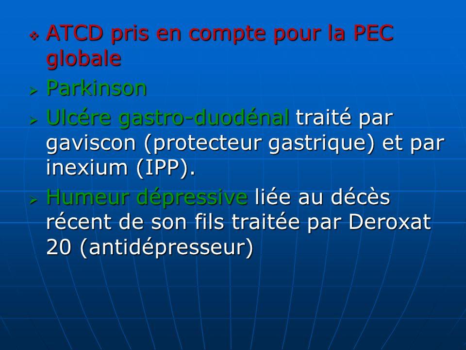 ATCD pris en compte pour la PEC globale ATCD pris en compte pour la PEC globale Parkinson Parkinson Ulcére gastro-duodénal traité par gaviscon (protec