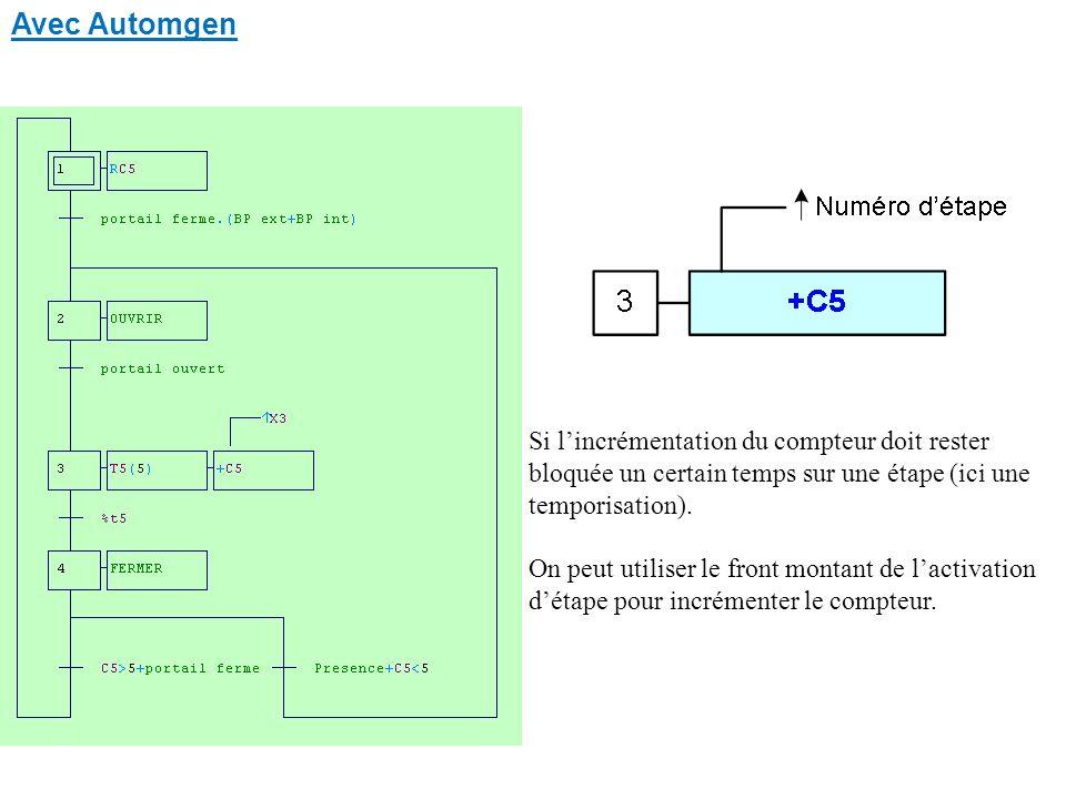 Avec Automgen Si lincrémentation du compteur doit rester bloquée un certain temps sur une étape (ici une temporisation).