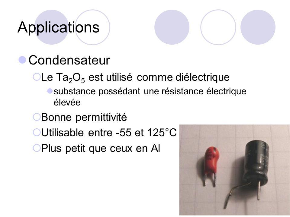 Applications Condensateur Le Ta 2 O 5 est utilisé comme diélectrique substance possédant une résistance électrique élevée Bonne permittivité Utilisabl