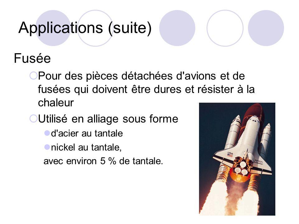 Applications (suite) Fusée Pour des pièces détachées d'avions et de fusées qui doivent être dures et résister à la chaleur Utilisé en alliage sous for