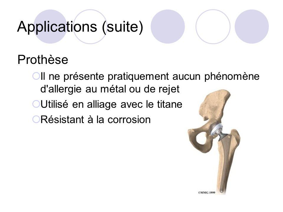 Applications (suite) Prothèse Il ne présente pratiquement aucun phénomène d'allergie au métal ou de rejet Utilisé en alliage avec le titane Résistant