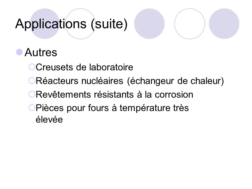 Applications (suite) Autres Creusets de laboratoire Réacteurs nucléaires (échangeur de chaleur) Revêtements résistants à la corrosion Pièces pour four
