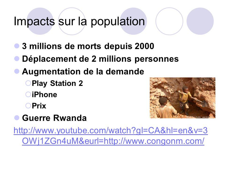 Impacts sur la population 3 millions de morts depuis 2000 Déplacement de 2 millions personnes Augmentation de la demande Play Station 2 iPhone Prix Gu