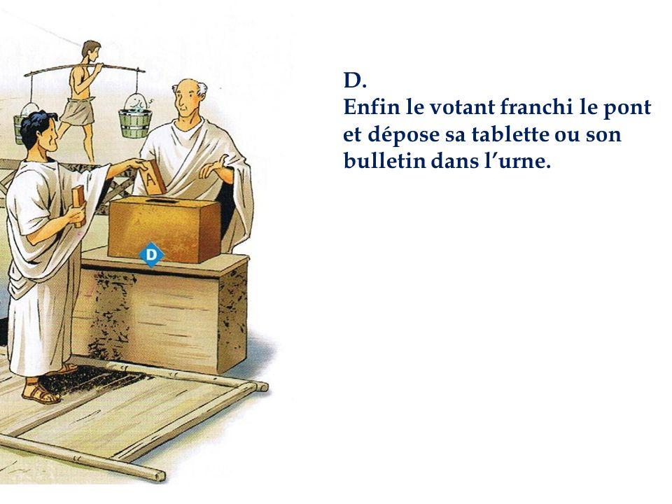 D. Enfin le votant franchi le pont et dépose sa tablette ou son bulletin dans lurne.