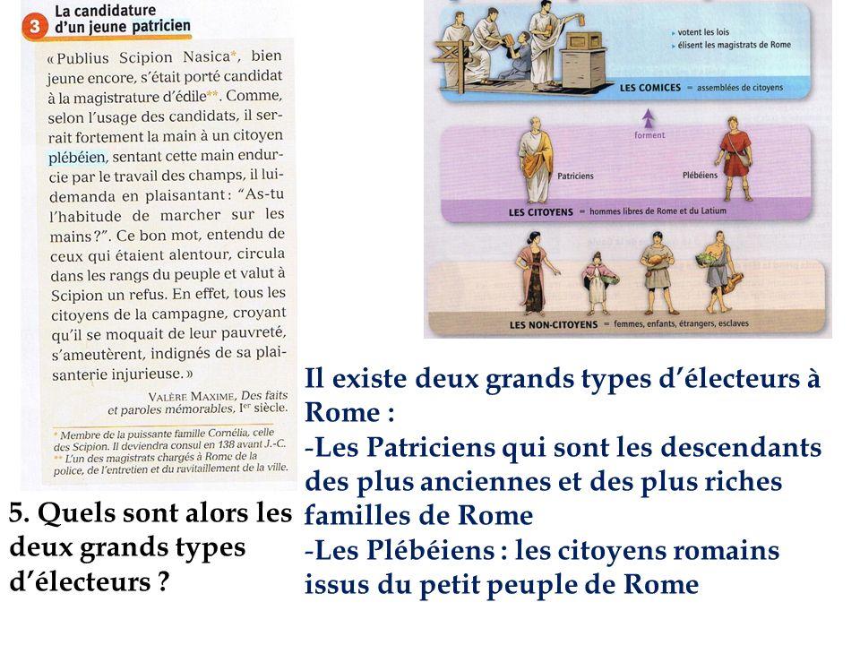 Il existe deux grands types délecteurs à Rome : - Les Patriciens qui sont les descendants des plus anciennes et des plus riches familles de Rome - Les