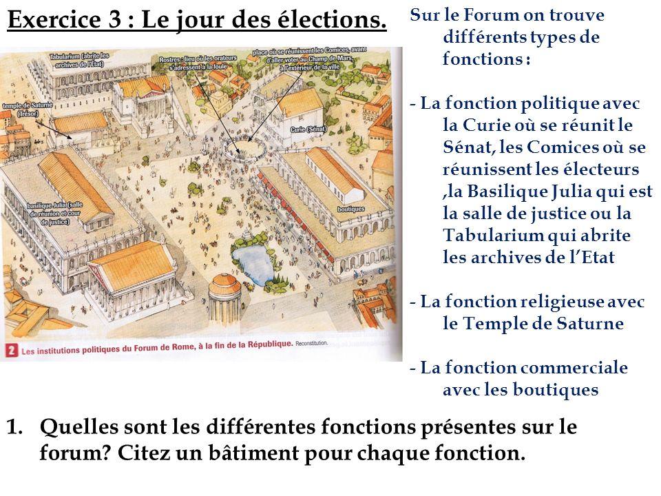1.Quelles sont les différentes fonctions présentes sur le forum? Citez un bâtiment pour chaque fonction. Exercice 3 : Le jour des élections. Sur le Fo