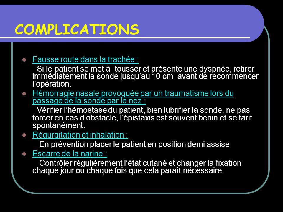 COMPLICATIONS Fausse route dans la trachée : Si le patient se met à tousser et présente une dyspnée, retirer immédiatement la sonde jusquau 10 cm avan