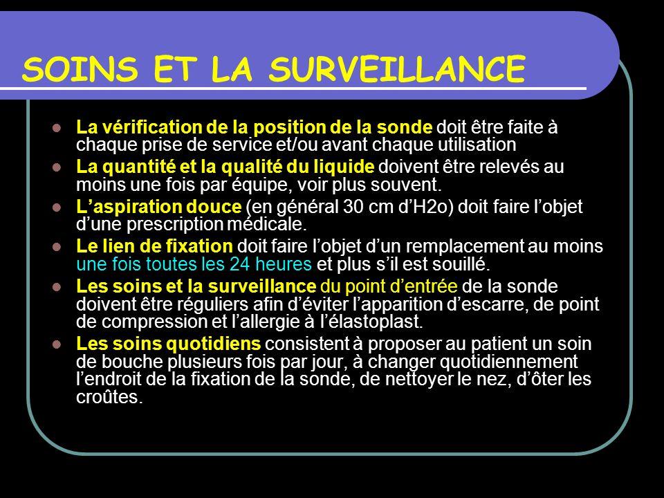 SOINS ET LA SURVEILLANCE La vérification de la position de la sonde doit être faite à chaque prise de service et/ou avant chaque utilisation La quanti